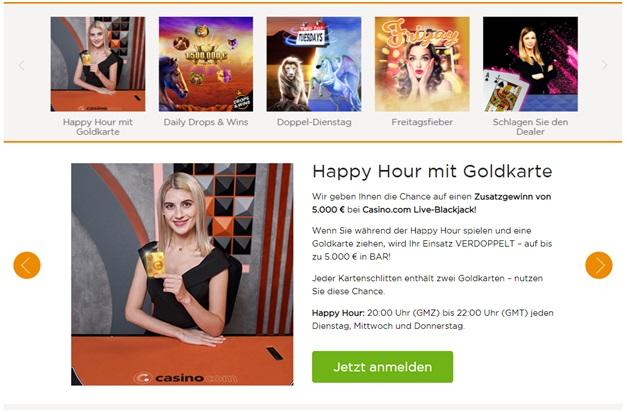Happy Hour Bonusangebot bei caisno.com für deutsche Börsenspekulanten