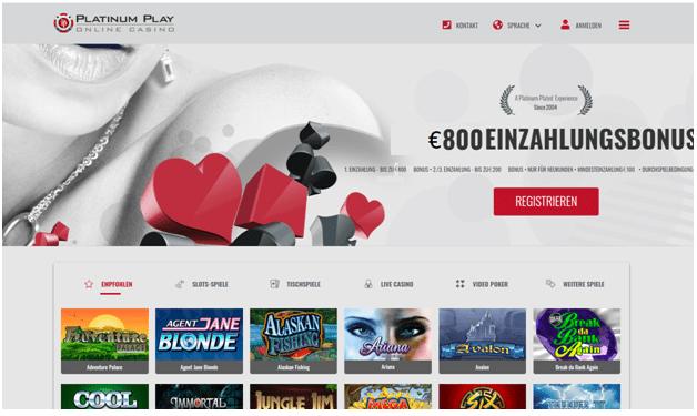 Platin spielen deutschfreundliches Online Casino