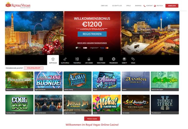 Royal Vegas Online Casino für deutsche Spieler