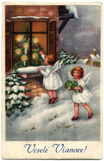 Historical Slovak Christmas Cards Two Angels
