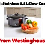 Westinghouse Black Stainless 6.5L Slow Cooker
