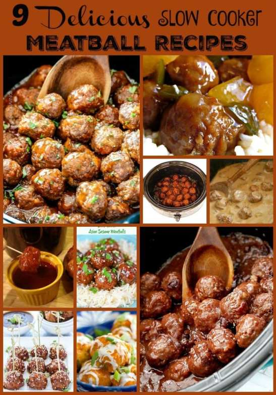 9 Delicious Slow Cooker Meatball Recipes. Find this and other awesome crockpot recipes at https://www.slowcookerkitchen.com