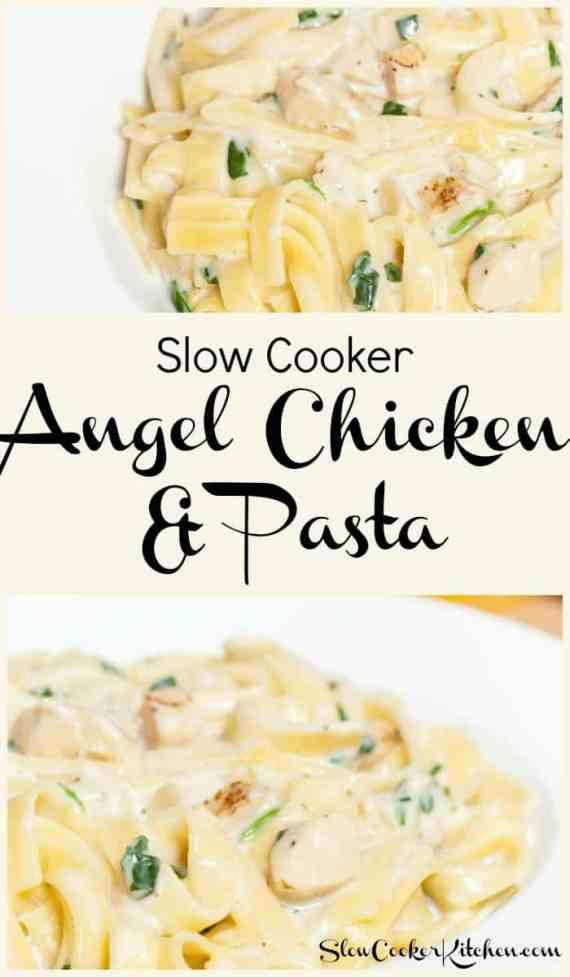 Slow Cooker Angel Chicken Pasta! Visit us @ https://www.slowcookerkitchen.com