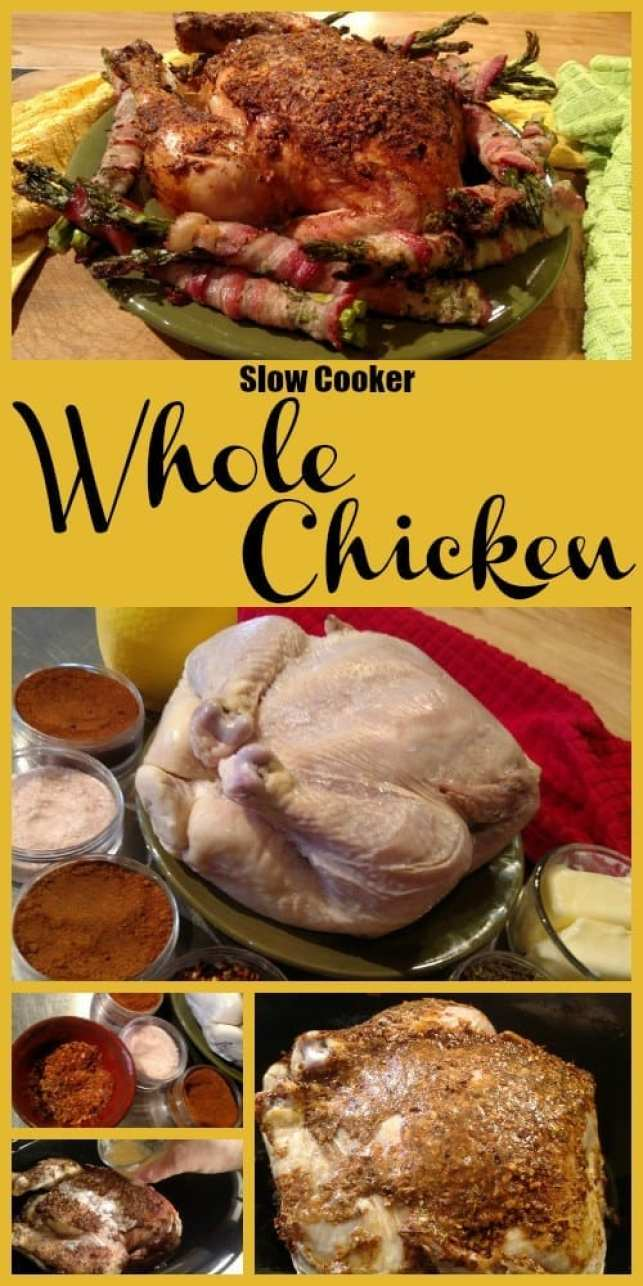 Whole Chicken Slow Cooker Recipe. Find this & more yummy recipes @ http://www.slowcookerkitchen.com