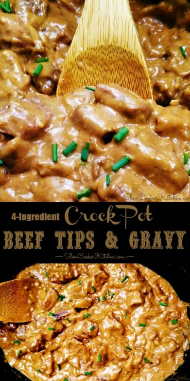 4-Ingredient Crock Pot Beef Tips Gravy