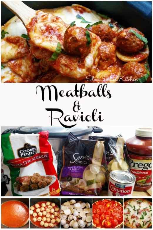 Crockpot Meatballs and Ravioli