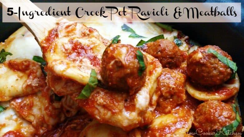 Crockpot Ravioli & Meatballs