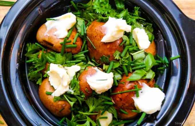 Butter and Herb Crockpot Mushrooms