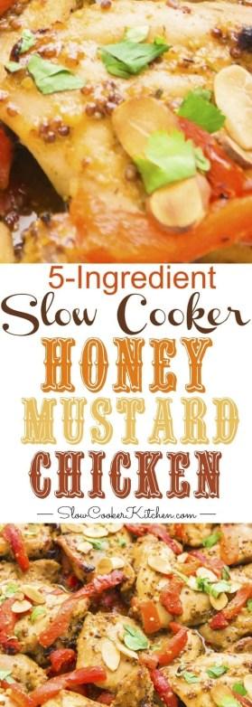 Super easy, 5 ingredient crockpot honey mustard chicken