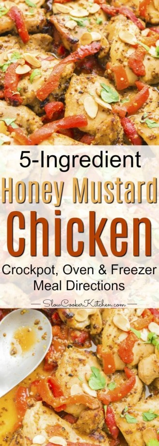 Very easy, 5-ingredient crock pot honey mustard chicken recipe. You can also cook in the oven or make it a freezer meal.