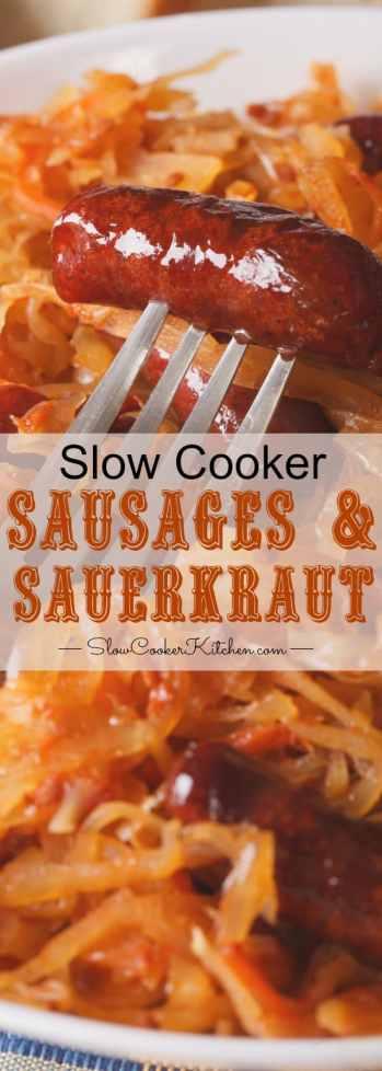 5 ingredient slow cooker sauerkraut & sausage pinterest image