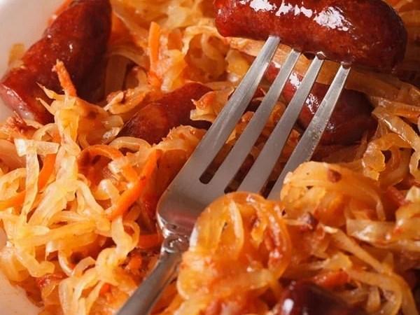 slow cooker sauerkraut sausage complete