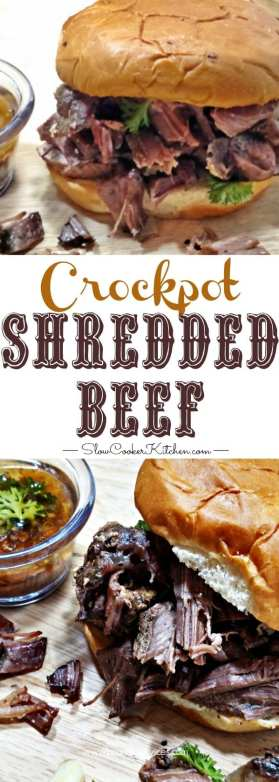 4 ingredient crock pot shredded beef pinterest image