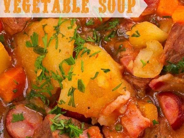 Crock Pot Bacon Kielbasa Beef Vegetable Soup