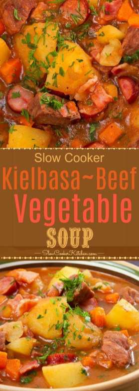 Crock Pot Beef Vegetable Soup with Kielbasa and Bacon