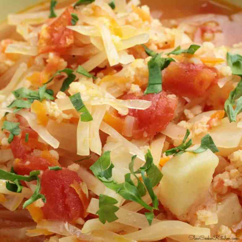 Slow Cooker Sauerkraut Sausage Soup