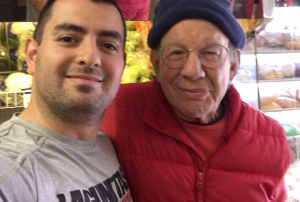 Roberto Iniguez of Tienda Y Panaderia Iniguez with journalist Jonah Raskin