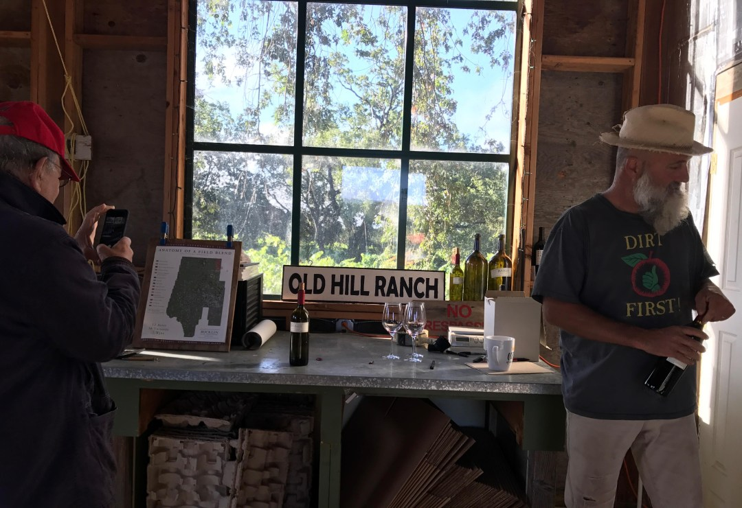 Will Bucklin with Jonah Raskin in the Tasting Room at Old Hill Ranch  (Photo: Zeno Swijtink)