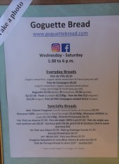 This list of breads, with prices, awaits everyone who enters Goguette.