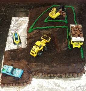 James wanted a construction cake, so I built this one.