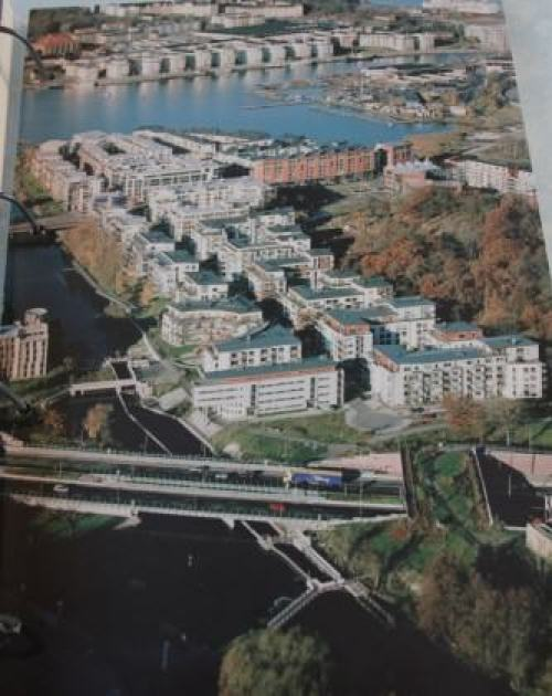 Fragment of Hammarby Sjöstad. Photo by Maria Ignatieva taken in Hammarby Sjöstad environmental information centre.  Eco duct is visible in the right corner of this picture.