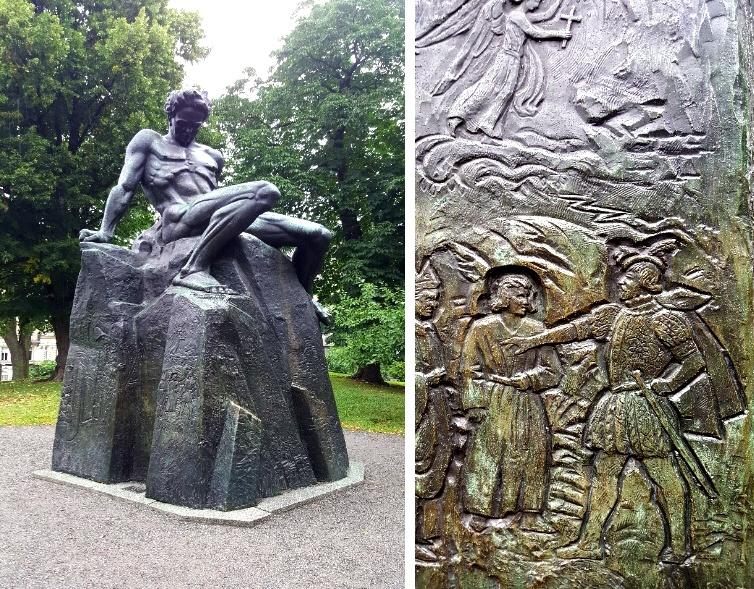 Carl Eldh's statue of August Strindberg. Photo by Cas Blomberg