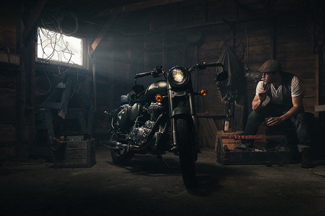 How You Shot It Dramatic Royal Enfield Motorcycle Portrait