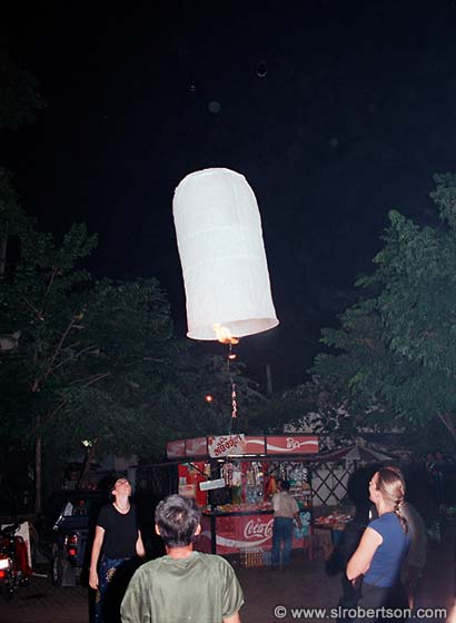 Launching a Candle-Powered Paper Balloon