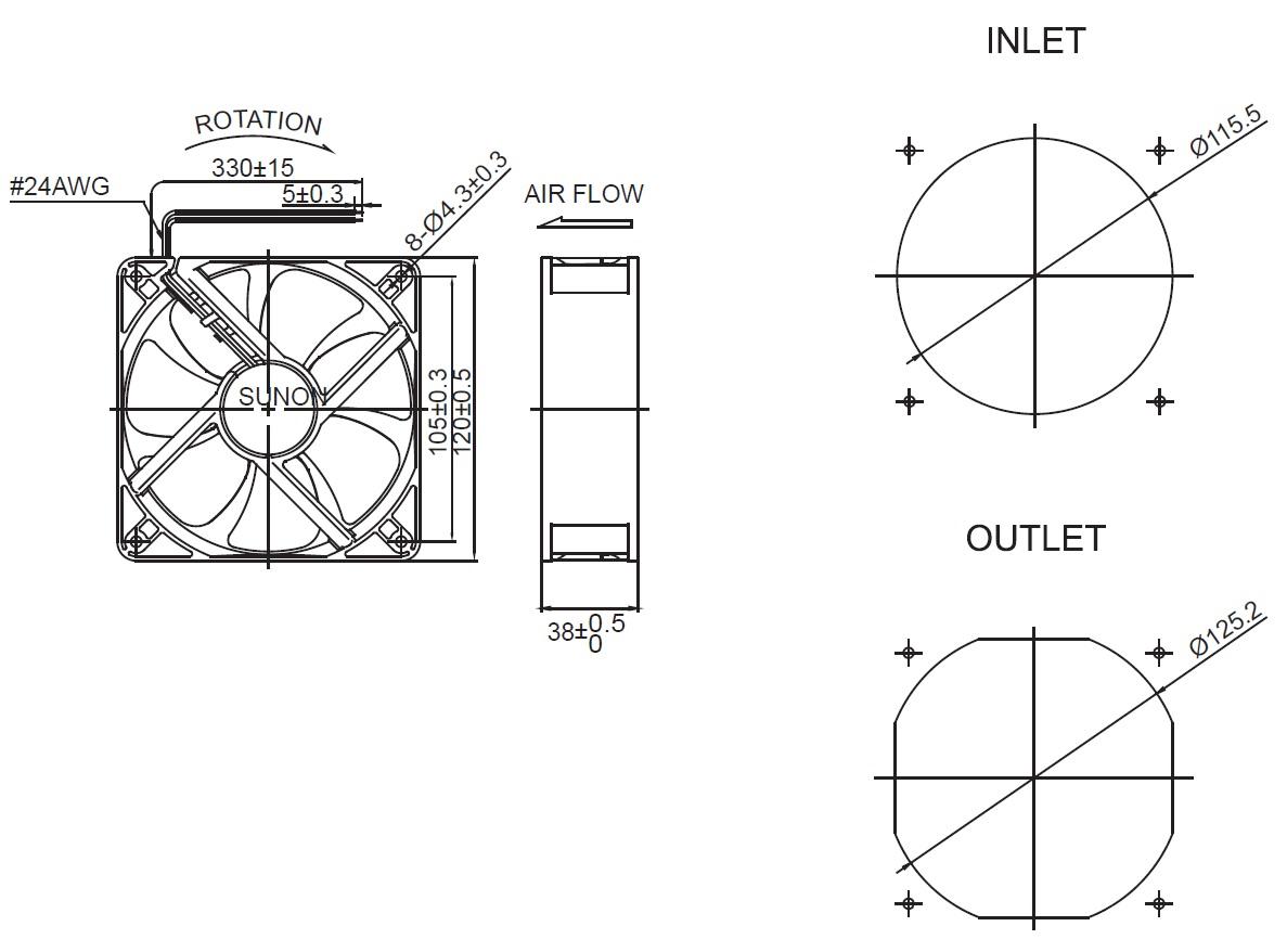 Sunon Cooler 120x120x38mm Mec V1 A99 12v 234 41 M H