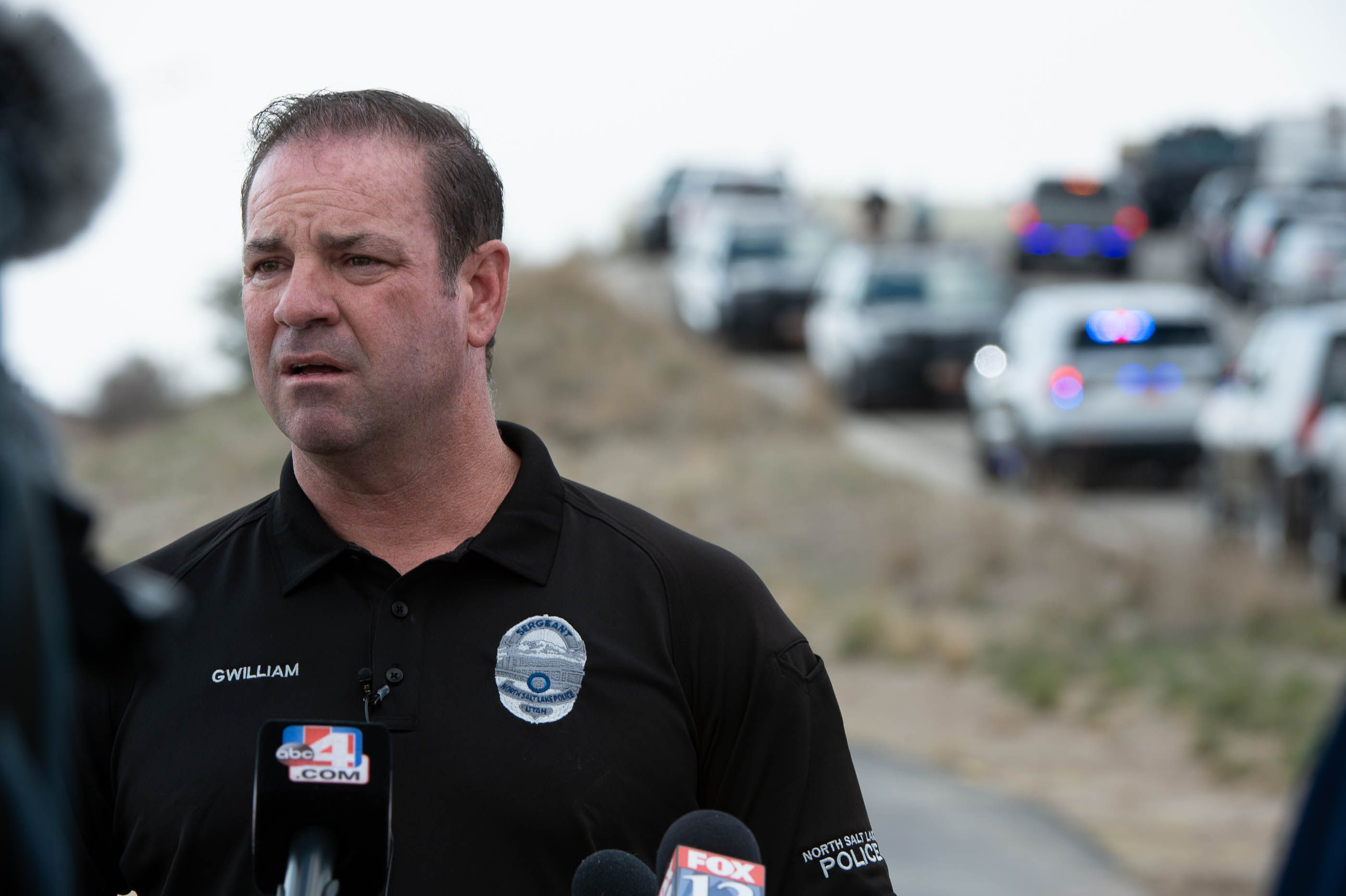 (Francisco Kjolseth  | The Salt Lake Tribune) Sergeant Mitch Gwilliams with North Salt Lake Police gives an update to a call involving a man driving erratically and claiming to have a gun and a bomb as an initial police chase comes to and end on Center Street over Legacy Highway on Wednesday, March 17, 2021, with no major injuries.