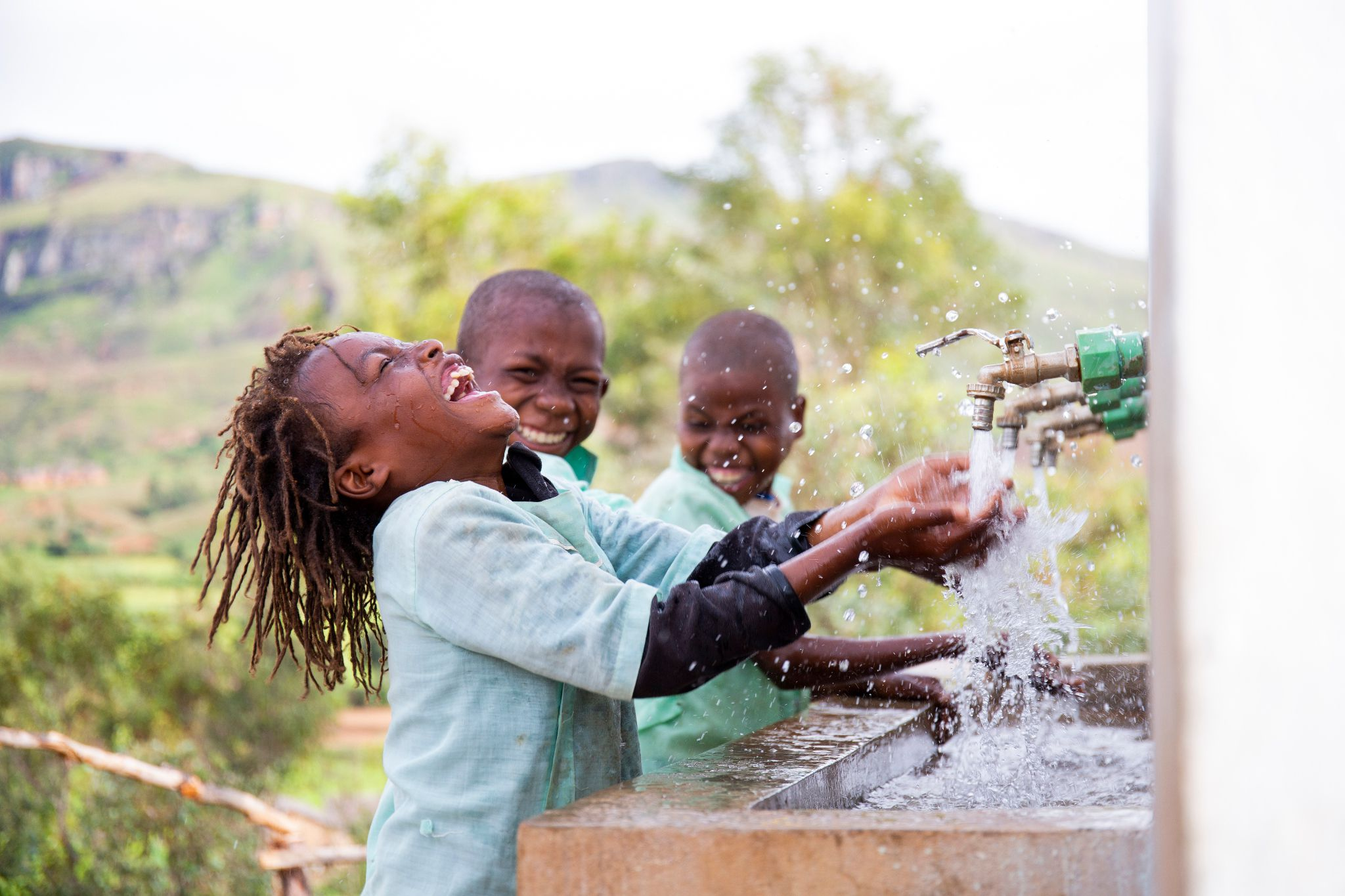 (/Ernest Randriarimalala | Photo courtesy of The Church of Jesus Christ of Latter-day Saints and WaterAid Toky, 7, and his friends wash their hands at the sanitation block in Madagascar. In 2020, Latter-day Saint Charities provided funding to help support 1.8 million refugees, internally displaced people and host community members in 39 countries with emergency water, shelter, water, sanitation and health support.