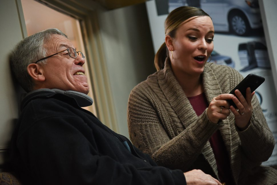 (Francisco Kjolseth | The Salt Lake Tribune) Ashley Breitenstein is shocked when she answers an incoming call for her father, Mark Sargeant, with the caller ID of