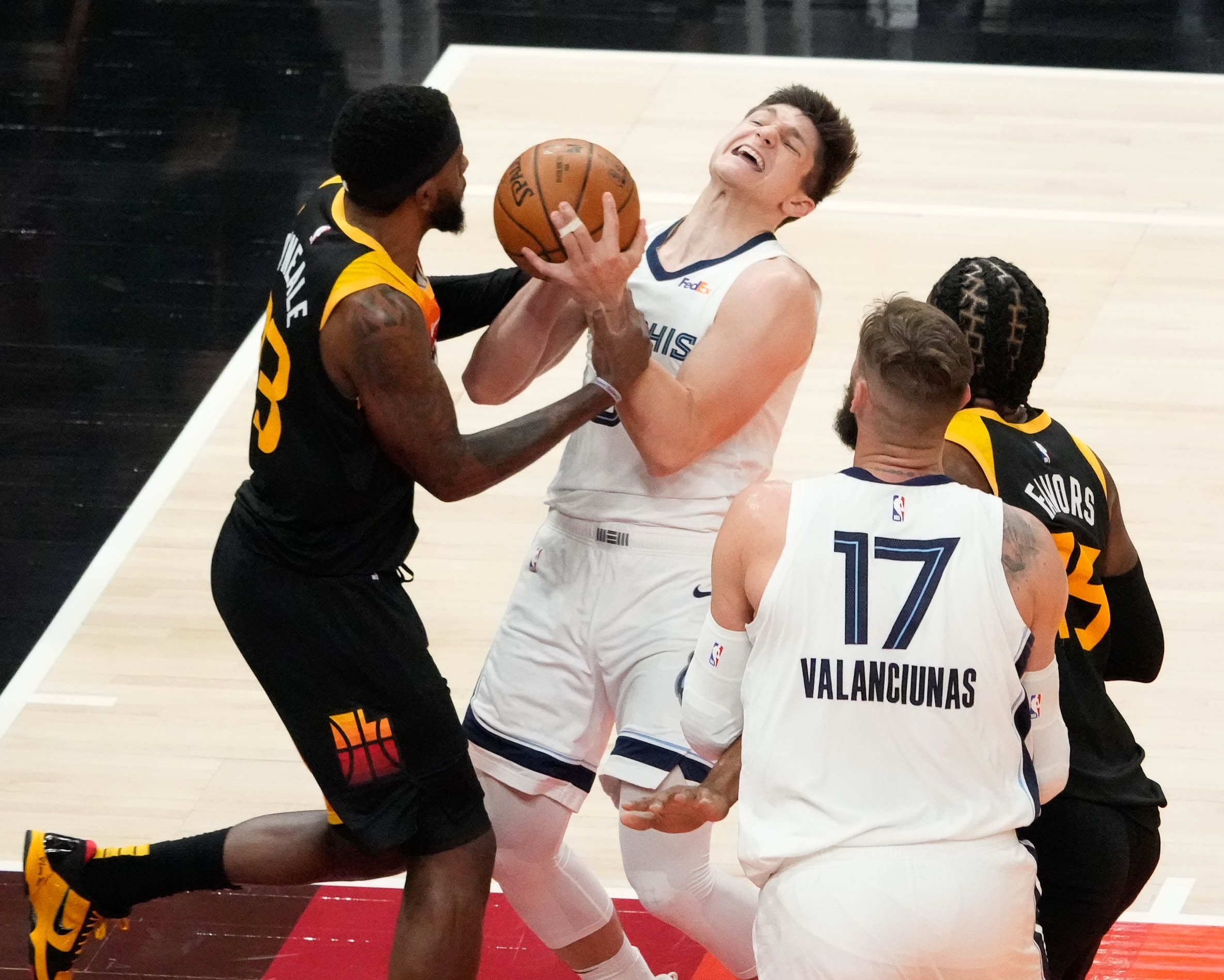 (Francisco Kjolseth | The Salt Lake Tribune) Utah Jazz forward Royce O'Neale (23) puts the pressure on Memphis Grizzlies guard Grayson Allen (3) in the first half of Game 5 of an NBA basketball first-round playoff series Wednesday, June 2, 2021, in Salt Lake City, UT.