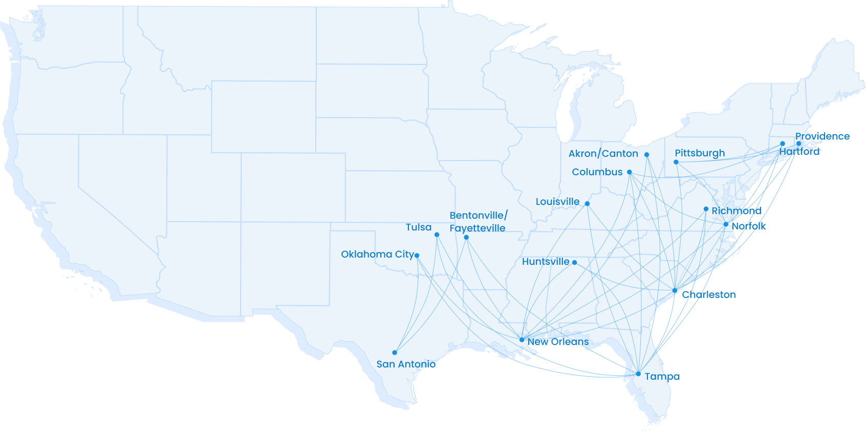 (Image courtesy Breeze Airways) Utah-based Breeze Airways unveiled its travel network and will begin taking its first commercial passengers this month. While the airline's routes mostly serve the East and Southeast, its founder said he expects to add flights to Utah in the next year or two.
