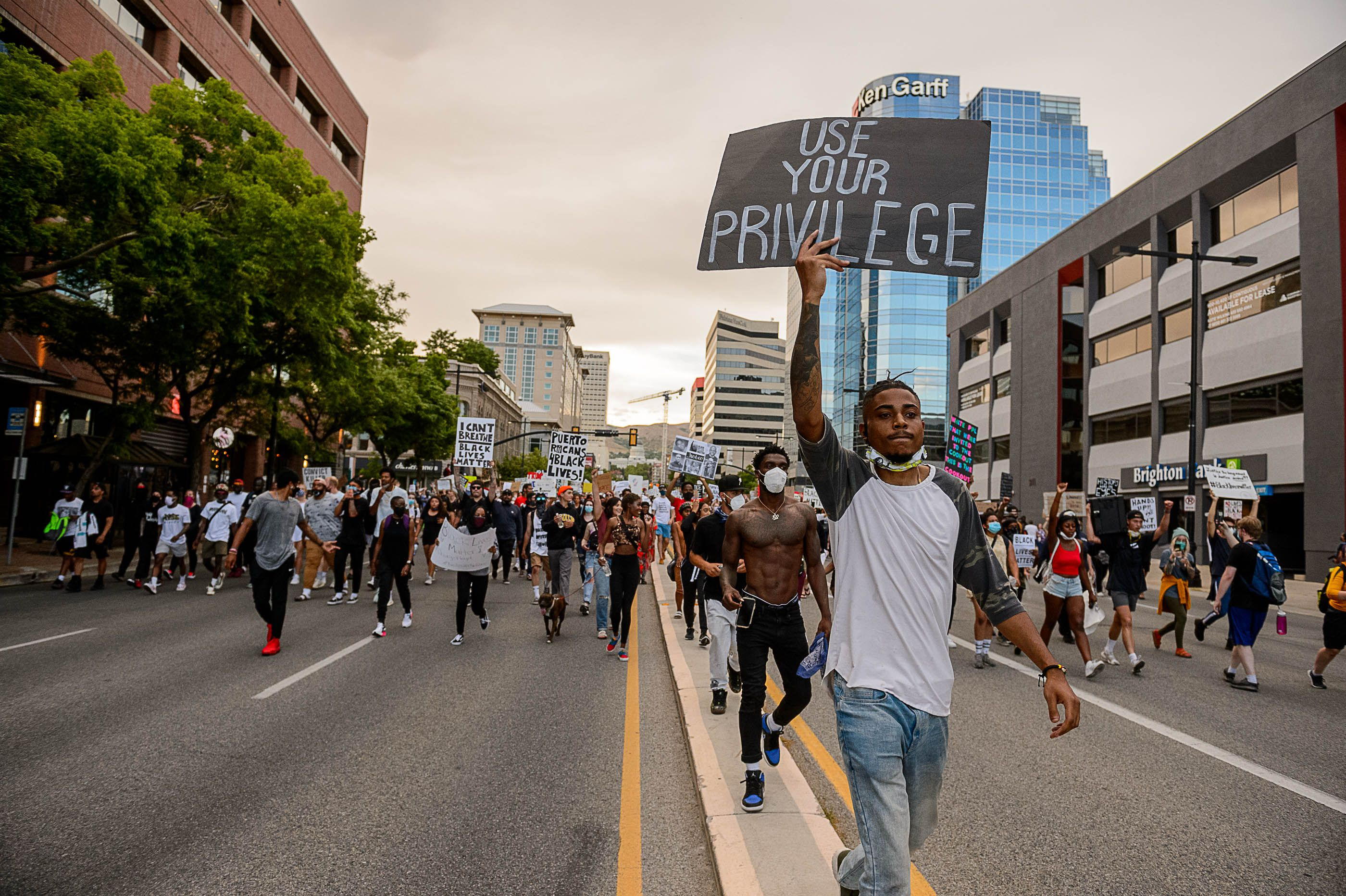(Trent Nelson  |  The Salt Lake Tribune) Protesters march against police brutality in Salt Lake City on Thursday, June 4, 2020.