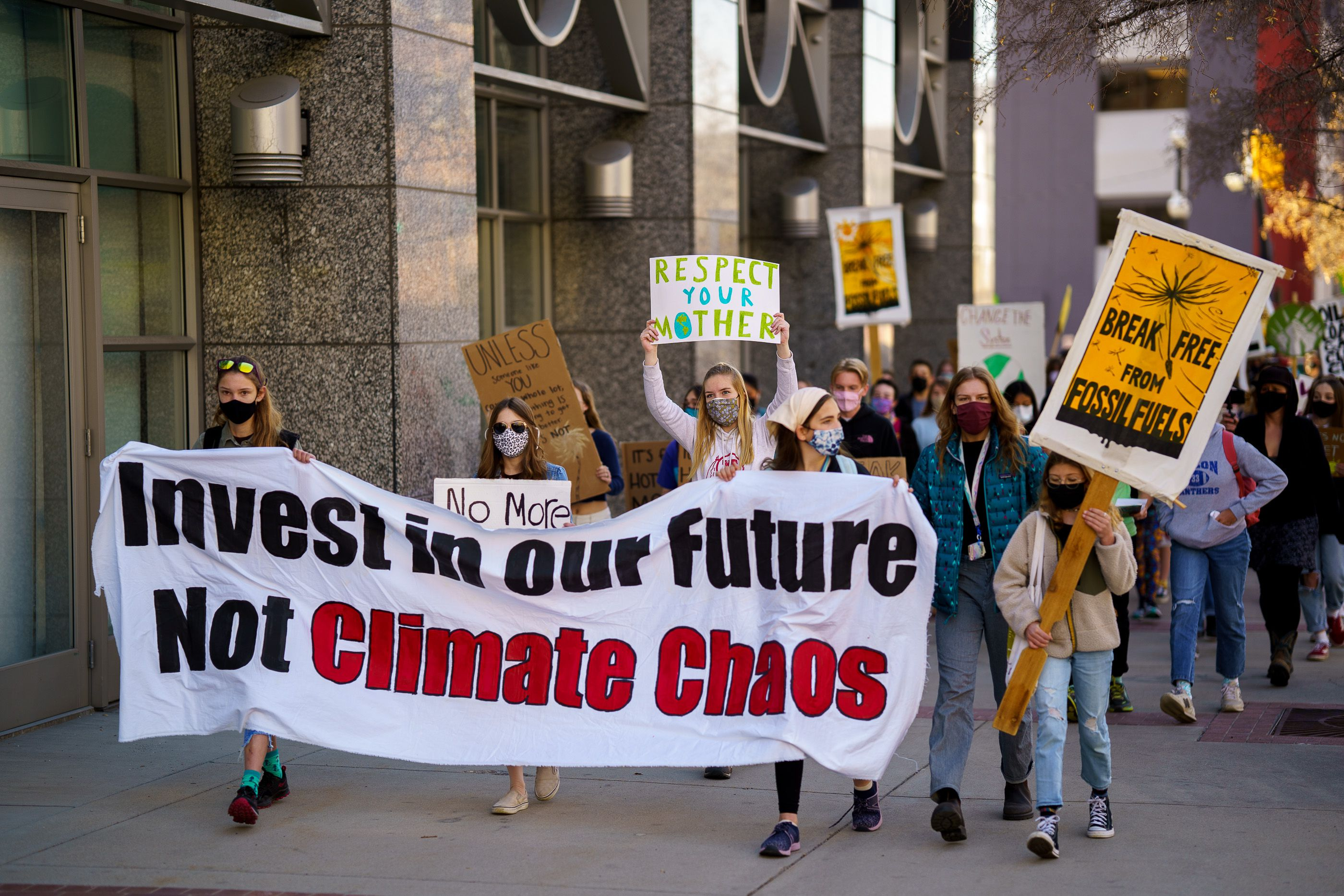 (Trent Nelson     The Salt Lake Tribune) Students march to the state Capitol in Salt Lake City to protest inaction on the climate crisis on Friday, March 19, 2021.