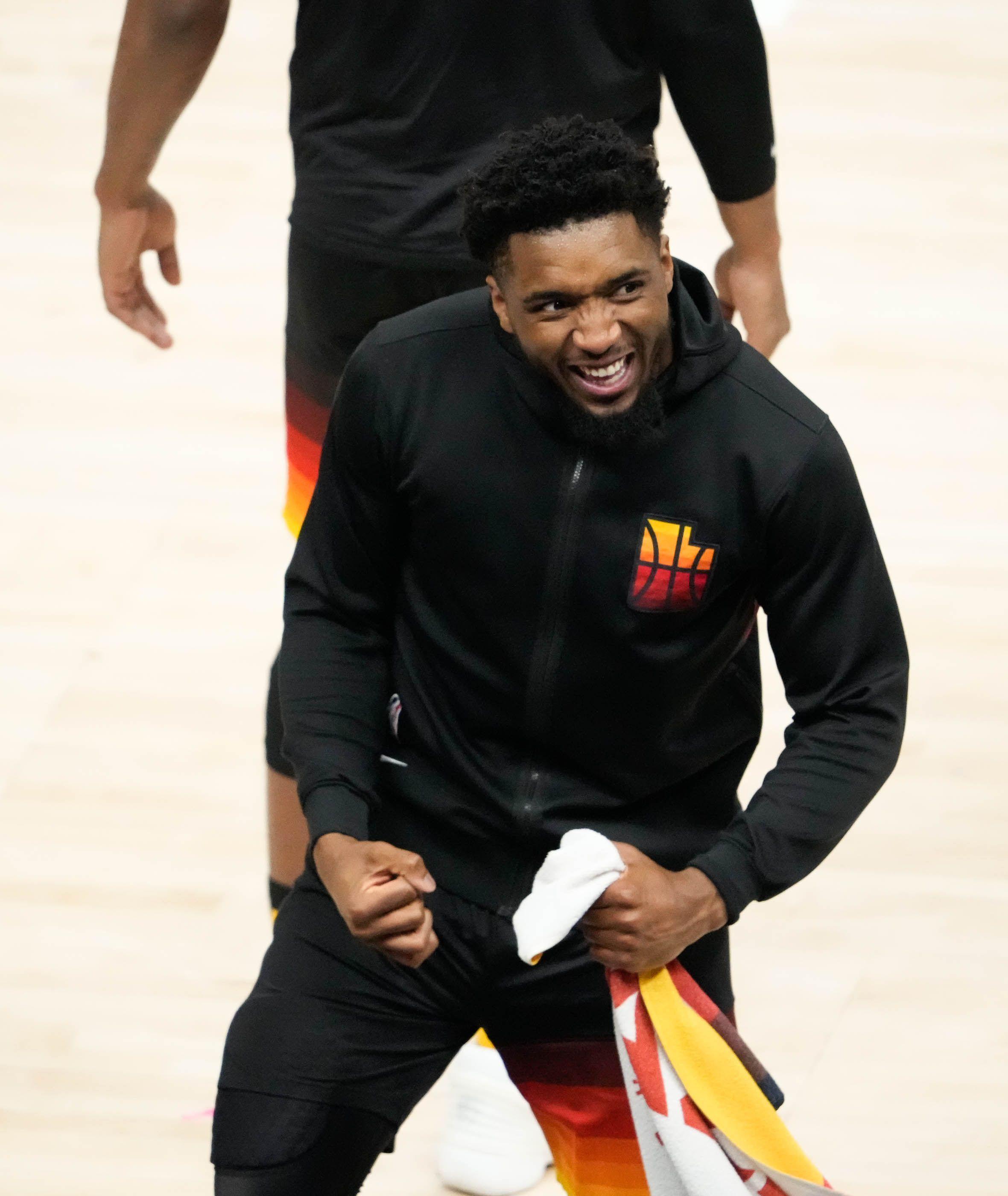 (Francisco Kjolseth | The Salt Lake Tribune) Utah Jazz guard Donovan Mitchell (45) celebrates their 126-110 win over Memphis to advance in the playoffs following Game 5 of their NBA basketball first-round playoff series Wednesday, June 2, 2021, in Salt Lake City, UT.