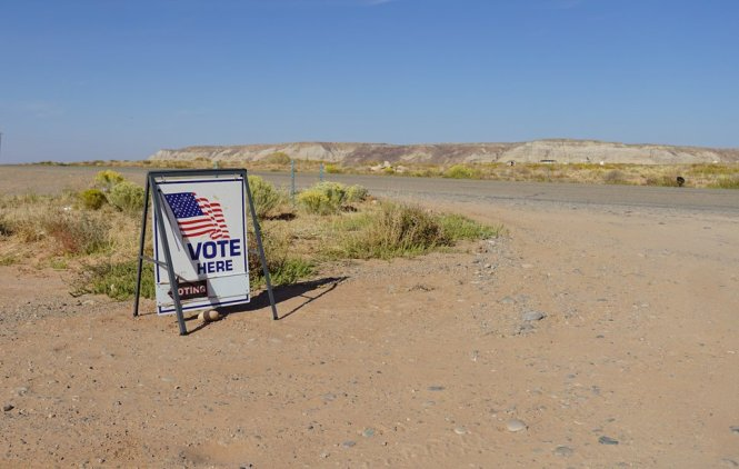 (Zak Podmore   The Salt Lake Tribune) Signs mark an early voting day at the Red Mesa Chapter House on the Navajo Nation in San Juan County on Oct. 8, 2020.