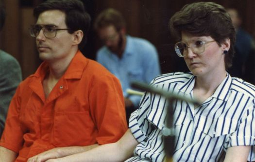 (Tribune file photo) Mark and Doralee Hofmann at a Board of Pardons hearing in the 1980s.