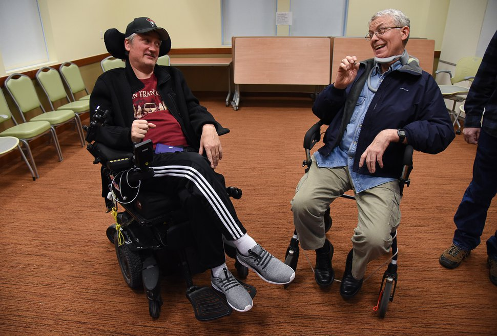 (Francisco Kjolseth | The Salt Lake Tribune) Larry Ujhely of South Jordan, left, chats with Mark Sargeant after an ASL support group meeting in Riverton. The two compare notes with the changes in their failing mobility from the progressive neurodegenerative disease.
