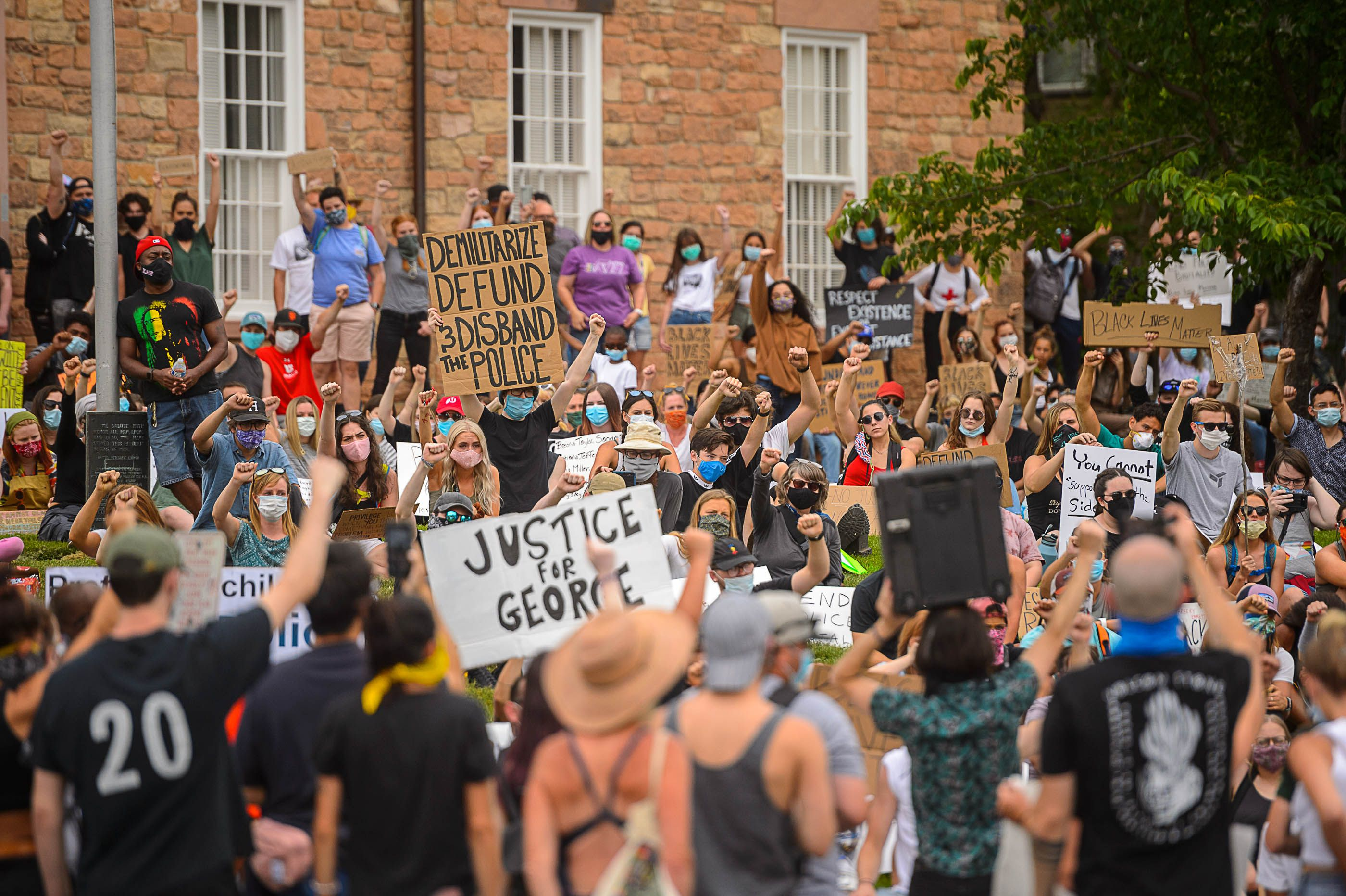 (Trent Nelson  |  The Salt Lake Tribune) Protesters rally in front of Council Hall in Salt Lake City on Thursday, June 4, 2020.