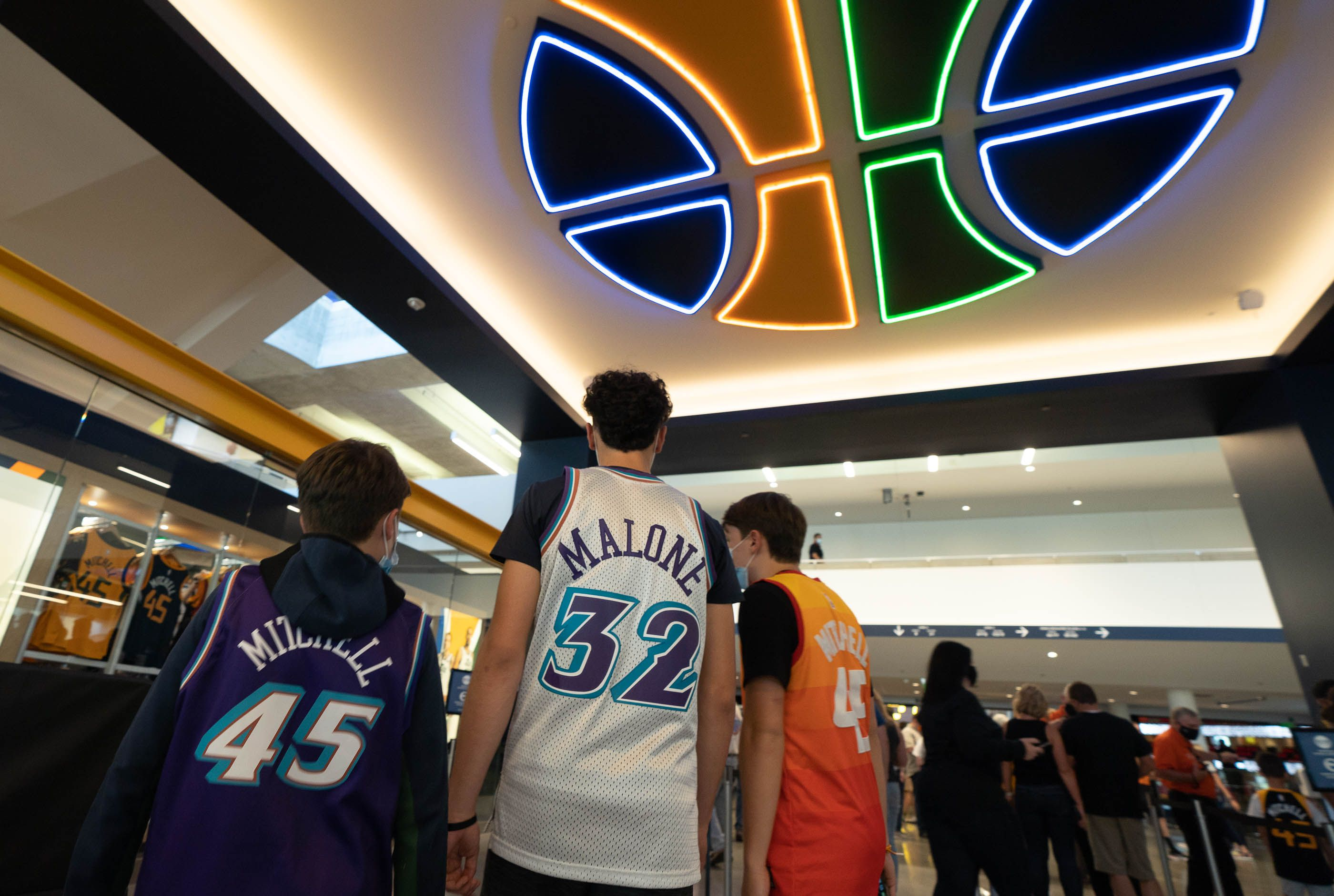 (Francisco Kjolseth | The Salt Lake Tribune) Young Jazz fans get ready to take in Game 5 of an NBA basketball first-round playoff series against the Memphis Grizzlies Wednesday, June 2, 2021, in Salt Lake City, UT.