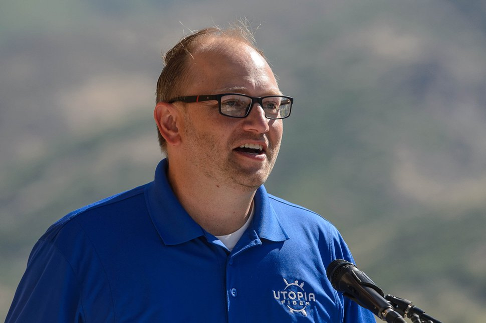 (Trent Nelson   The Salt Lake Tribune) Roger Timmerman, executive Director of UTOPIA Fiber, speaks at the unveiling of UTOPIA's wildfire early-detection system (EDWIN), in Layton on Wednesday, July 15, 2020.
