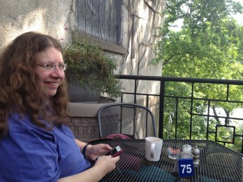 At Blue Spoon Café overlooking the Wisconsin River
