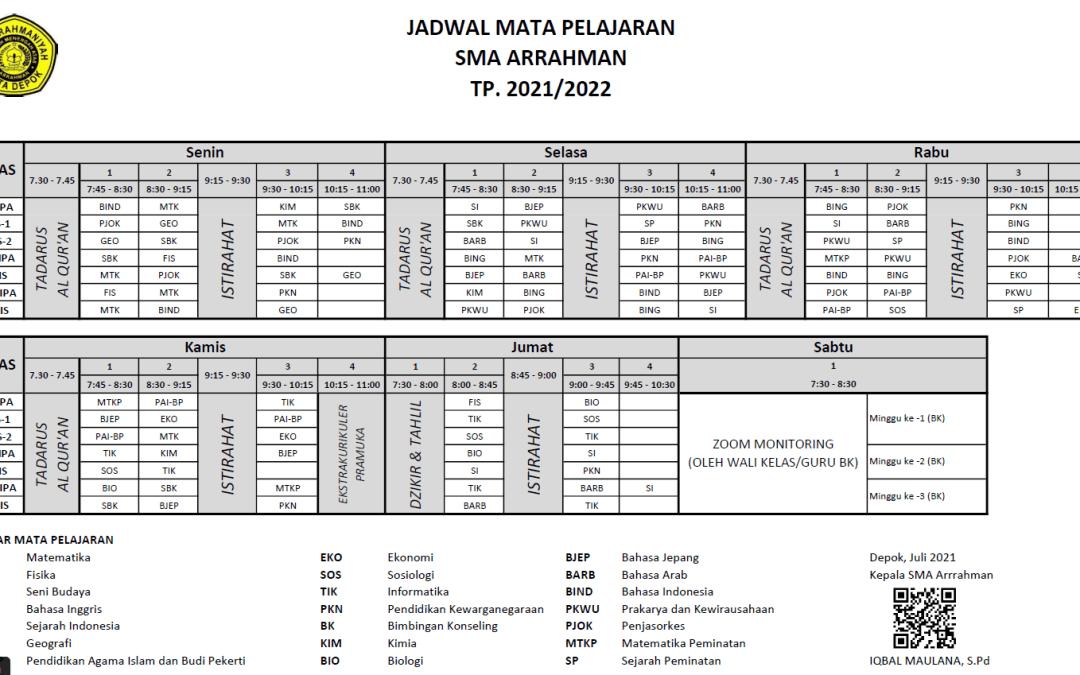 JADWAL KBM SMA ARRAHMAN 2021/2022