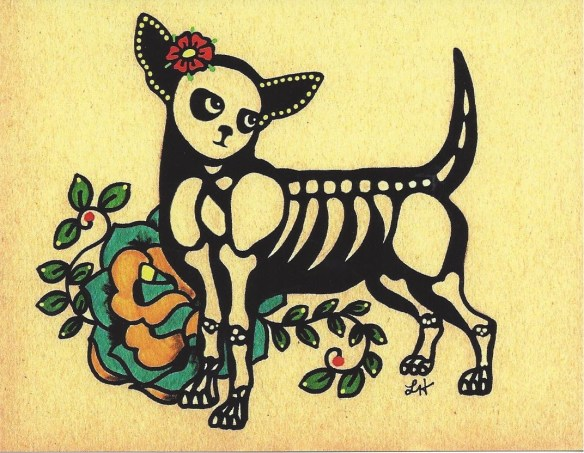Day of the Dead Dog Postcard