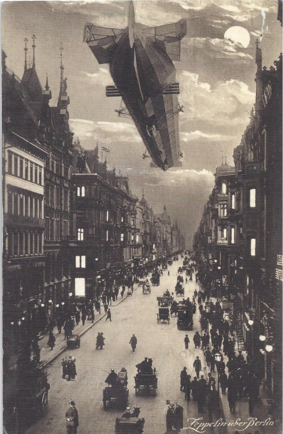 Zepplin Over Berlin Postcard