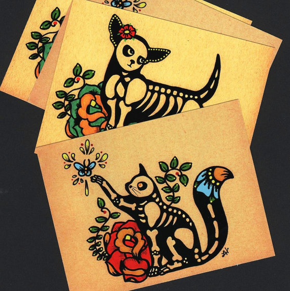 Day of The Dead Cat & Dog Postcards