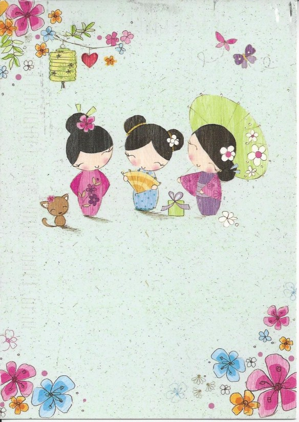 Cartoon Geisha Postcard