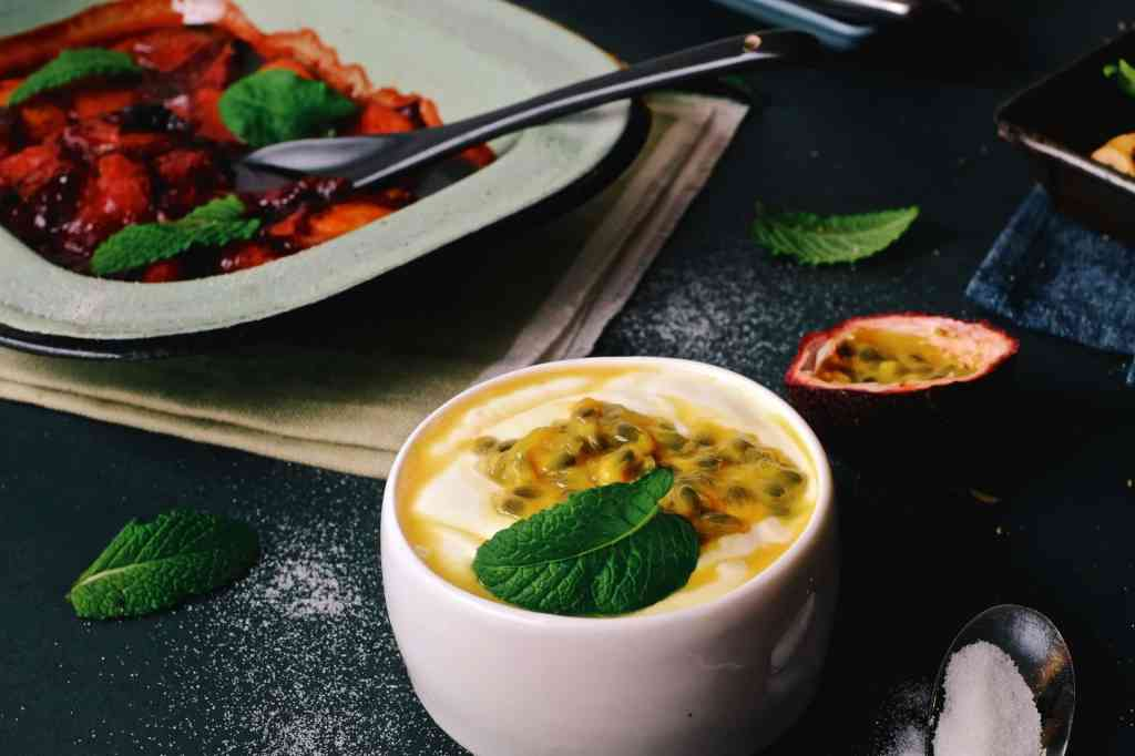 Stewed stone fruit with yogurt